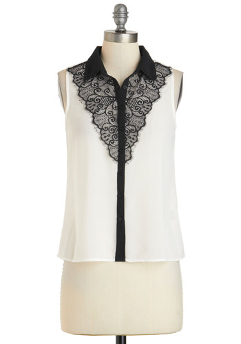 Turn Up the Lace Top - Mid-length, White, Black, Buttons, Lace, Work, Sleeveless, Collared, Daytime Party, Film Noir, French / Victorian, Button Down, White, Sleeveless