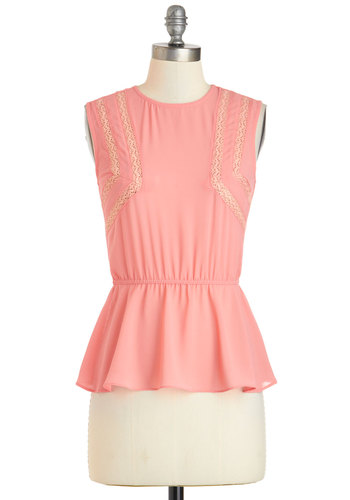Icing on the Cupcake Top - Sheer, Mid-length, Coral, Solid, Crochet, Work, Daytime Party, Peplum, Sleeveless, Pastel, Crew, Summer