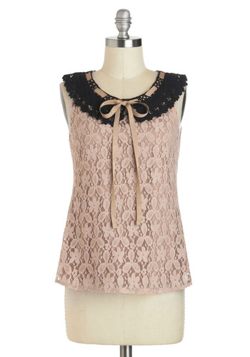 Make the Mocha Of It Top - Cotton, Mid-length, Brown, Black, Bows, Lace, Peter Pan Collar, Work, Sleeveless, Collared