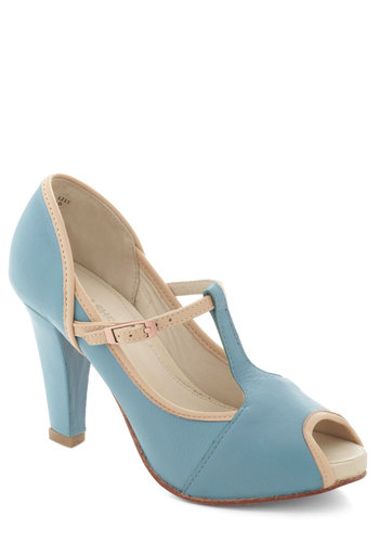 Clickety Split Heel - Blue, Tan / Cream, Solid, Cutout, Peep Toe, Leather, Prom, Wedding, Party, Vintage Inspired, Luxe