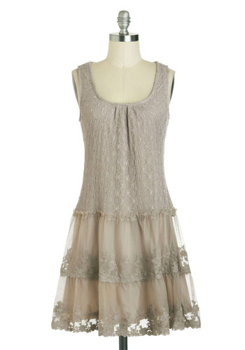 The Talkie of The Town Dress - Mid-length, Tan, Solid, Lace, Tiered, Party, Sheath / Shift, Tank top (2 thick straps), Scoop, Vintage Inspired, 30s