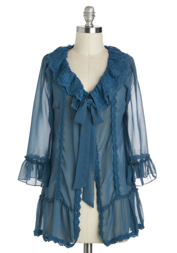 Flawless Furbelow Cardigan - Sheer, Mid-length, Blue, Solid, Bows, Lace, Long Sleeve