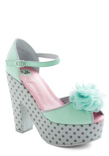 After Hours Flower Heel - Green, Polka Dots, Flower, Platform, Peep Toe, Multi, Statement, High, Party, Girls Night Out, Pastel, Faux Leather