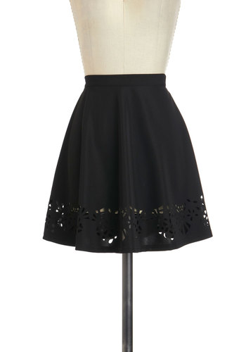 Little Something Extra Skirt - Black, Solid, Cutout, Work, A-line, Winter, Short, Black
