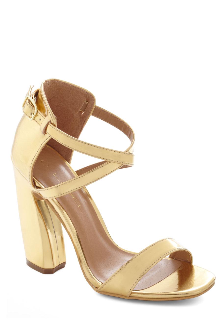 Chunky Gold Heels - Is Heel