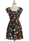 Beginning To See The Spotlights Dress - Mid-length, Black, Red, Yellow, Green, White, Polka Dots, Casual, A-line, Cap Sleeves, Scoop, Summer