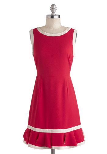 The Fun'll Come Out Tomorrow Dress - Short, Red, White, Solid, Ruffles, Casual, A-line, Sleeveless, Boat, Nautical, Vintage Inspired, 30s