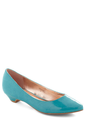 Top Billing Heel in Turquoise - Blue, Solid, Work, Low, Minimal, Faux Leather, Variation