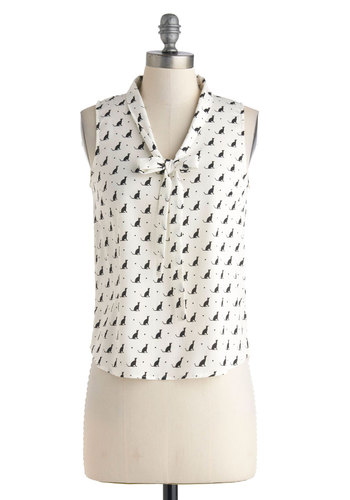 I've Got a Feline Top - Mid-length, White, Black, Print with Animals, Bows, Sleeveless, Work, Casual, Summer, Cats, White, Sleeveless