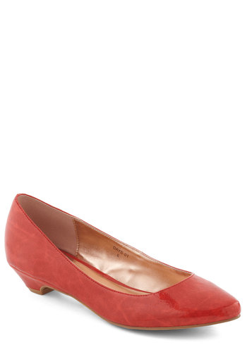 Top Billing Heel in Scarlet - Red, Solid, Work, Low, Minimal, Faux Leather, Variation