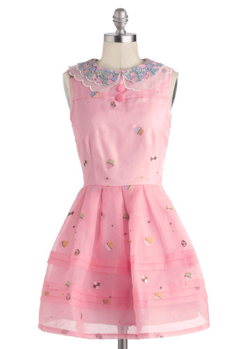 Sweet Me Off My Feet Dress by Nishe - International Designer, Short, Pink, Multi, Novelty Print, Buttons, Crochet, Embroidery, Peter Pan Collar, Party, Fit & Flare, Sleeveless, Collared, Summer
