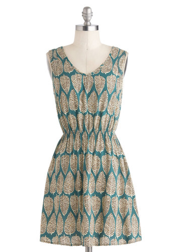 Leafing On a Jet Plane Dress - Short, Green, Brown, Tan / Cream, Print, Casual, A-line, Sleeveless, V Neck, Summer