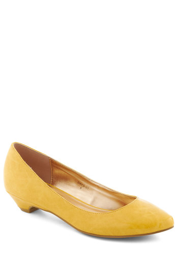 Top Billing Heel in Dandelion - Yellow, Solid, Work, Low, Minimal, Faux Leather, Variation