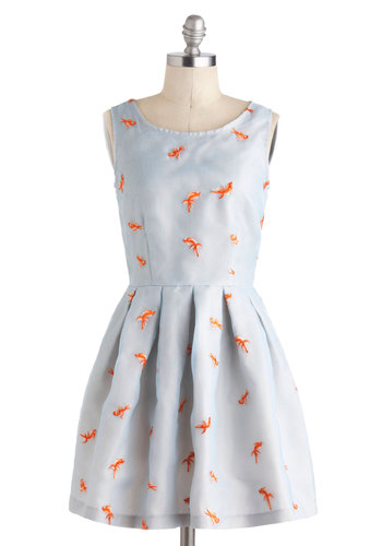 Good As Goldfish Dress - International Designer, Blue, Orange, Print with Animals, Embroidery, Pleats, Fit & Flare, Sleeveless, Scoop, Daytime Party, Critters, Top Rated, Pastel, Mid-length