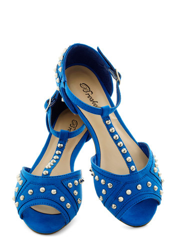 Tell Me About It, Studded Flats - Blue, Studs, Peep Toe, Low, Solid, Party, Casual, Daytime Party, Urban, Faux Leather, T-Strap