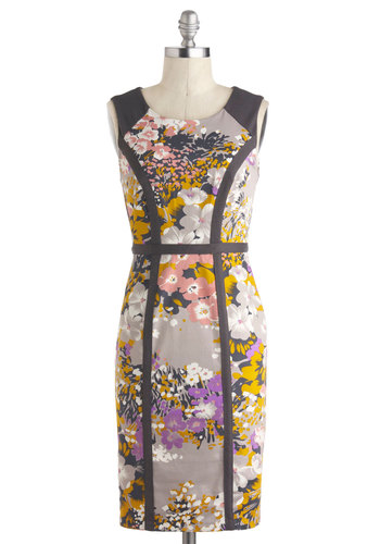 Where Swathe I? Dress by Darling - Cotton, Mid-length, Grey, Multi, Floral, Party, Sheath / Shift, Sleeveless, Scoop, Exposed zipper, Work, Daytime Party, Spring