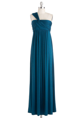 Demeter Maxi Dress in Peacock Blue - Long, Blue, Solid, Ruching, Casual, Maxi, One Shoulder, Beach/Resort, Empire, Jersey, Variation, Summer
