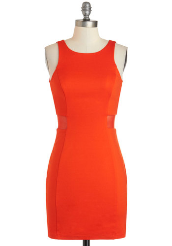 Lava Voom dress - Orange, Solid, Sleeveless, Short, Girls Night Out, Bodycon / Bandage, Scoop, Backless, Cutout, Party, Vintage Inspired, 80s, 90s