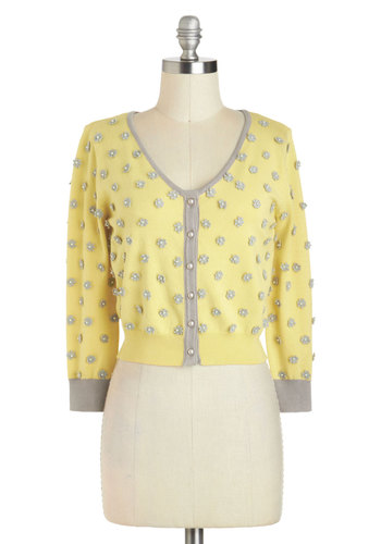 Really Applique Yourself Cardigan by Darling - Yellow, Grey, Flower, Pearls, Party, Long Sleeve, Short, Vintage Inspired, 50s, Pinup
