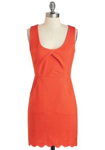 Name Of The Game Dress - Orange, Pockets, Party, A-line, Sleeveless, Short, Polka Dots, Buttons, Cutout, Scallops, Vintage Inspired, Scoop