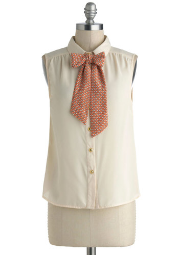 Got to Butterfly Top - Sheer, White, Orange, Bows, Buttons, Work, Sleeveless, Tie Neck, Pinup, Chiffon, Woven, Mid-length, White, Sleeveless, Top Rated