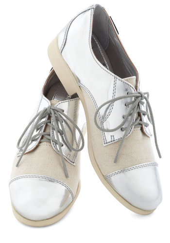 There's No Place Like Chrome Flat by Bass - Silver, Solid, Menswear Inspired, Tan / Cream, Party
