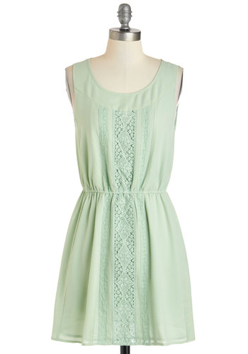 Sage My Name Dress - Mint, Solid, Casual, A-line, Tank top (2 thick straps), Short, Crochet, Scoop, Pastel