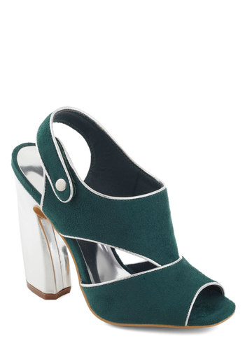 Platinum du Jour Heel - Green, Silver, Trim, Statement, Party, High, Chunky heel