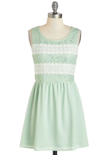 Key Lime Cheesecake Dress - Mint, Daytime Party, A-line, Tank top (2 thick straps), Short, White, Crochet, Lace, Scoop, Pastel, Spring, Summer