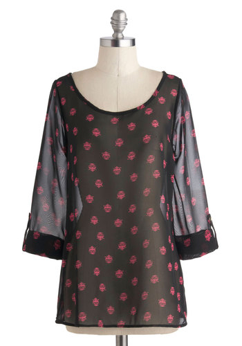 Owl About Evening Top - Mid-length, Sheer, Black, Pink, Print with Animals, Work, Long Sleeve