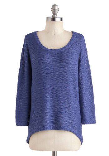 Hyacinth-Low Sweater - Mid-length, Blue, Solid, Casual, Long Sleeve, 90s, Travel