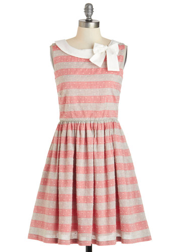 Head Bow-ver Heels Dress by Knitted Dove - Stripes, Bows, Sleeveless, Cotton, Mid-length, Red, Grey, White, Pockets, A-line, Boat, Daytime Party, Vintage Inspired, Pink, Tan / Cream