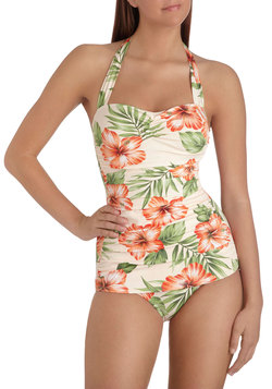 Bathing Beauty One Piece in Hibiscus