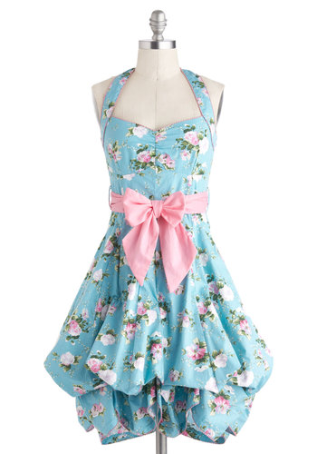 Indigo Gardens Dress in Pastel - Fairytale, Cotton, Blue, Multi, Floral, Belted, Daytime Party, A-line, Halter, Sweetheart, Summer, Spring, Variation, Long