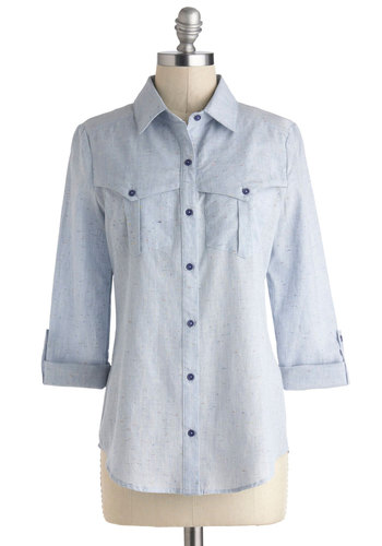 Speckled Effects Top - Cotton, Mid-length, Blue, Solid, Buttons, Pockets, Casual, 3/4 Sleeve, Collared