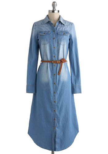 Horseback Haute Dress - Cotton, Denim, Long, Blue, Solid, Buttons, Belted, Casual, Button Down, Long Sleeve, Collared, Rustic, Fall, 90s