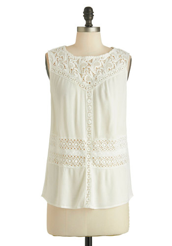 Songful Sweetie Top - Sheer, Mid-length, White, Solid, Eyelet, Sleeveless, Lace, Boho, Summer, Nautical