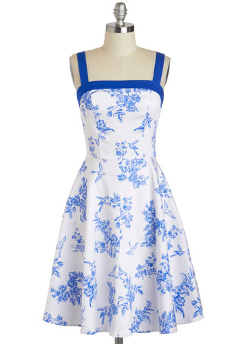 Toile Time Favorite Dress - Cotton, Mid-length, Blue, Floral, Casual, A-line, Spaghetti Straps, Exclusives, Daytime Party, Vintage Inspired, French / Victorian, Summer, White