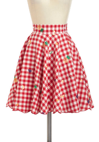 Fruitful Endeavors Skirt - International Designer, Red, Yellow, Green, Purple, Checkered / Gingham, Embroidery, Daytime Party, Rockabilly, Pinup, Fruits, Fit & Flare, Summer, Mid-length