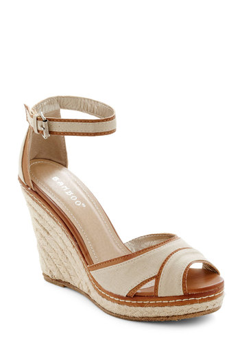 Living on the Coast Wedge - Tan, Brown, Cutout, Trim, Daytime Party, Boho, Platform, Wedge, High, Beach/Resort, Summer