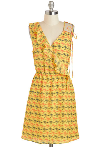 Trill of a Lifetime Dress by Tulle Clothing - Mid-length, Yellow, Red, Print with Animals, Ruffles, Casual, A-line, Sleeveless, V Neck, Black