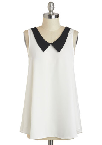 South Side Stroll Top - Sheer, Mid-length, White, Black, Solid, Peter Pan Collar, Casual, Sleeveless, White, Sleeveless