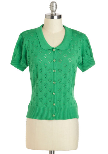Left My Heart Sweater by Tulle Clothing - Green, Solid, Buttons, Party, Work, Short Sleeves, Short, Vintage Inspired, 50s, Pinup