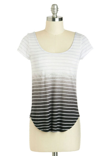 Lithography Class Top - Jersey, Mid-length, Black, Grey, Stripes, Ombre, Casual, Short Sleeves, Scoop, Variation, Summer, Travel, White