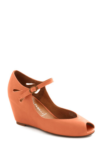 Hello Darling Wedge in Terra Cotta by Jeffrey Campbell - Orange, Solid, Cutout, Wedge, Peep Toe, Mid, Leather, Daytime Party, Vintage Inspired, Mary Jane, 60s
