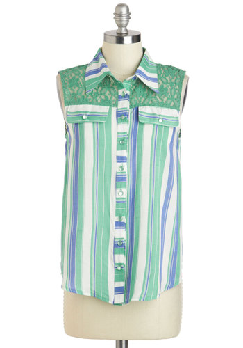 Home Sweet Haute Top - Blue, Stripes, Buttons, Sleeveless, Collared, Mid-length, Green, White, Lace, Casual, Summer, Travel, Green, Sleeveless