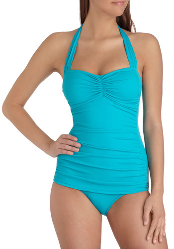 Bathing Beauty One-Piece Swimsuit in Teal by Esther Williams - Blue, Solid, Ruching, Beach/Resort, Summer, Variation