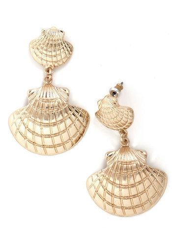 She Sells Seashell Earrings - Gold, Solid, Nautical