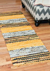 Assort Things Out Rug - 2x6 by Karma Living - Cotton, Multi, Yellow, Vintage Inspired, Folk Art, Rustic, Urban, Boho
