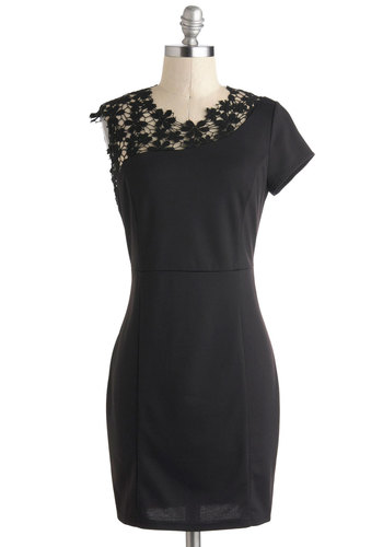 Run the Show Dress - Sheer, Short, Black, Solid, Crochet, Exposed zipper, Party, Sheath / Shift, Crew, Cocktail